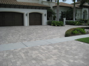 Beautiful driveway paved with stones