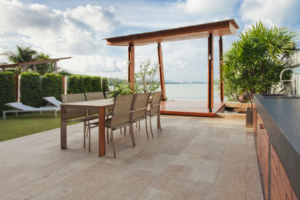 Outdoor deck design using wood veneer